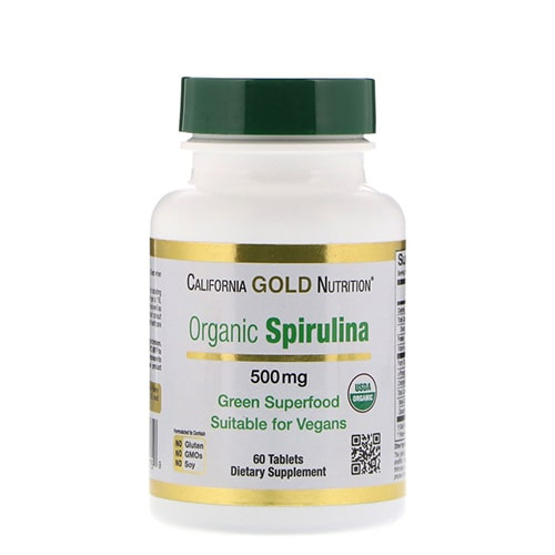 California Gold Nutrition Spirulina 500mg 60 caps